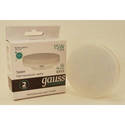 Gauss Elementary GX53 15W(1080lm) 4100K 4K матовая, пластик/алюм. 83825