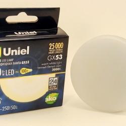 Uniel GX53 св/д 10W(900lm) 3000K 2K 75x26 матовая LED-GX53-10W/WW/GX53/FR