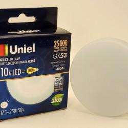 Uniel GX53 св/д 10W(900lm) 4000K 4K 75x26 матовая LED-GX53-10W/NW/GX53/FR