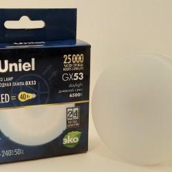 Uniel GX53 св/д 6W(470lm) 6500K 6K 75х25 матовая LED-GX53-6W/6500K/GX53/FR
